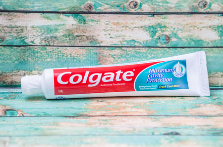 consumer products: PUTRAJAYA, MALAYSIA - JULY 22ND, 2015. Colgate tooth paste. The Colgate-Palmolive Company is an American multinational consumer products company producing household, health care and personal products.