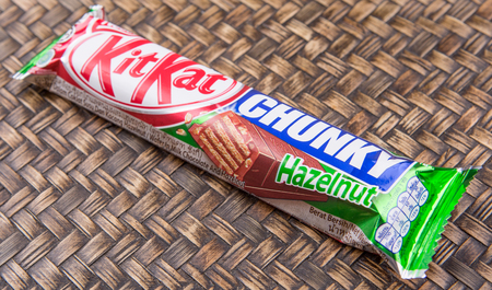 snapped: PUTRAJAYA, MALAYSIA, JULY 21ST, 2015. Kit Kat is a chocolate covered wafer bar created in 1911 by Rowntrees of York, England. Nestle which acquired Rowntree in 1988 now sells Kit Kat globally.