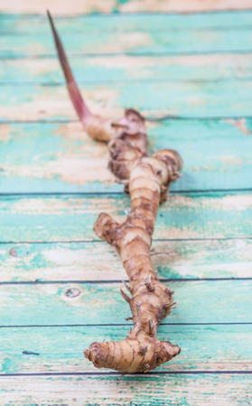 galangal: Galangal or Lengkuas roots over wooden background Stock Photo