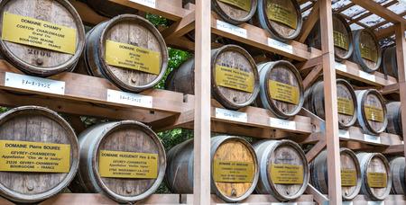 barrel tile: TOKYO, JAPAN - AUGUST 16TH 2015. Provenance of the Bourgogne Wine for Consecration at Meiji Jingu in Tokyo, Japan. Editorial