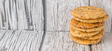 appetiser: Japanese rice crackers or locally known as sinbei over wooden background Stock Photo