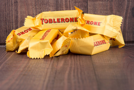 pyramid peak: TOKYO, JAPAN - 4TH OCTOBER 2015. Created by Theodor Tobler in 1908, Toblerone is a Swiss triangular chocolate bar brand owned by American Mondelez International. Editorial