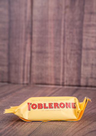 TOKYO, JAPAN - 4TH OCTOBER 2015. Created by Theodor Tobler in 1908, Toblerone is a Swiss triangular chocolate bar brand owned by American Mondelez International. Editorial