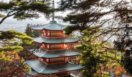 sengen: Japan Chureito Pagoda at Arakura Sengen Shrine in autumn.