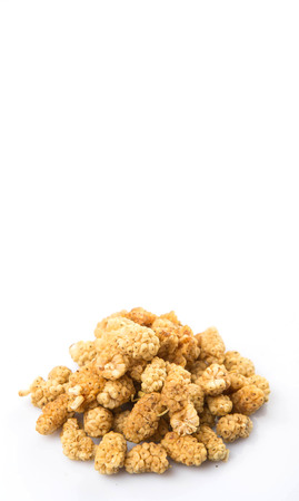superfruit: Dried white mulberry over white background Stock Photo