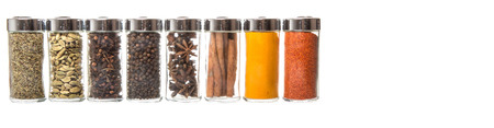 Variety of spices over white background Foto de archivo