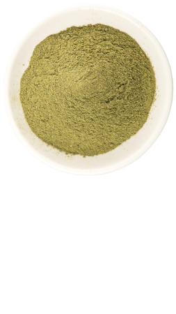 minty: Peppermint herbs powder in white bowl over white background Stock Photo
