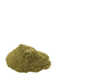 minty: Peppermint herbs powder over white background Stock Photo