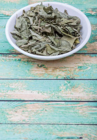 dry leaf: Dried curry leaves in white bowl over wooden background