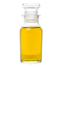 extract: Avocado fruit oil extract in glass vial over white background Stock Photo