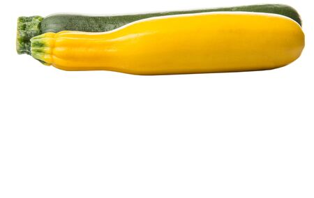 zucchini vegetable: Yellow and green zucchini vegetable over white background