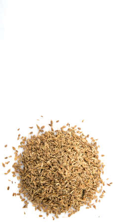 aniseed: Dried anise seed or aniseed over white background Stock Photo