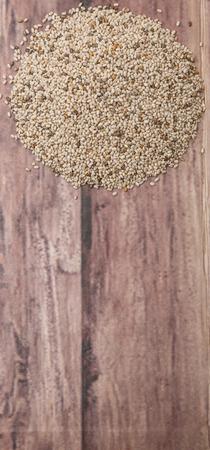 white chia: White chia seed over wooden background Stock Photo