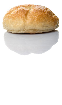 doughy: Homemade plain bagel over white background