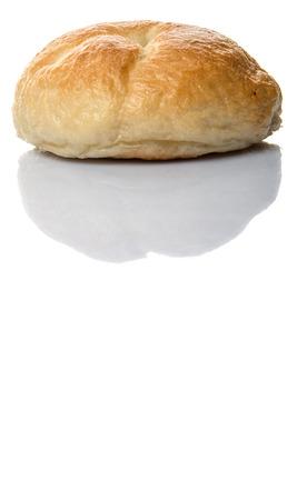 doughy: Homemade plain bagel over white background