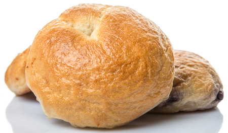 doughy: Homemade plain bagel, cheese bagel and blueberry bagel over white background Stock Photo
