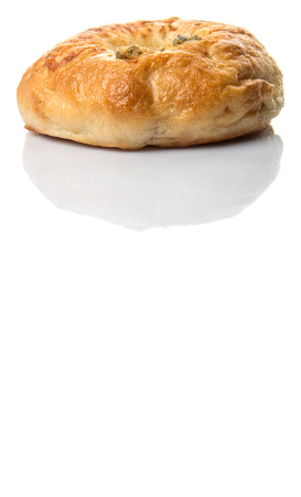 doughy: Homemade cream cheese filled bagel over white background