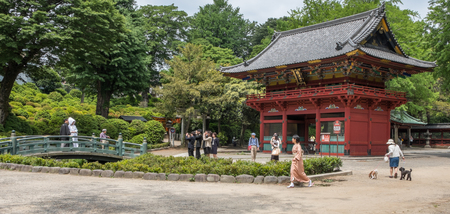 attire: NEZU, TOKYO, JAPAN - MAY 14TH, 2016. Japanese couple in traditional attire at Nezu Shrine or Nezu Jinja. Nezu Shrine is a traditional and historical Shinto shrine.