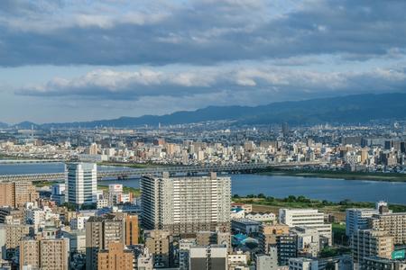 31st: OSAKA, JAPAN - MAY 31ST, 2016. View of Osakas city buildings and skyline.