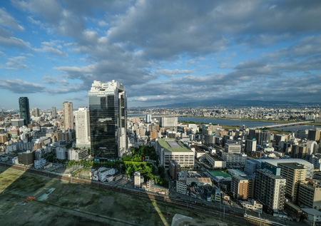 developement: OSAKA, JAPAN - MAY 31ST, 2016. View of Osakas city buildings and skyline.