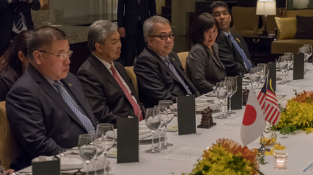 deputy: TOKYO, JAPAN - MAY 30TH, 2016. Deputy Prime Minister of Malaysia Ahmad Zahid Hamidi in a meeting with Japanese officials.