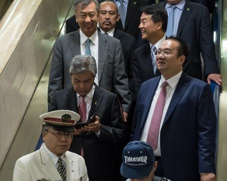 bilateral: TOKYO, JAPAN - MAY 30TH, 2016. Deputy Prime Minister of Malaysia Ahmad Zahid Hamidi accompanied by his escorts visiting Tokyo Railway Station, Japan.