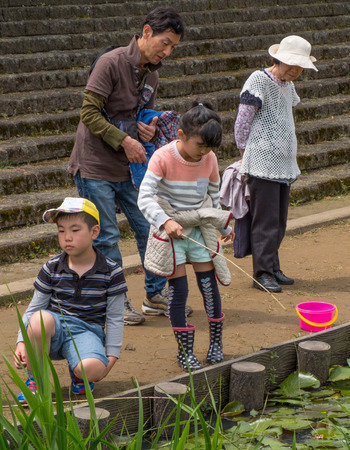 children pond: ITAKO, IBARAKI, JAPAN - JUNE 4TH 2016l. Locals and tourists children fishing in the pond during the annual Suigo Itako Iris Flower Festival.