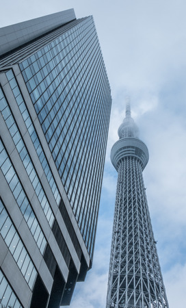 free standing: TOKYO, JAPAN, SEPTEMBER 4TH 2016 - View of Tokyo Skytree building, At 634 meter tall, is the highest free standing broadcast tower in the world and the tallest structure in Japan.