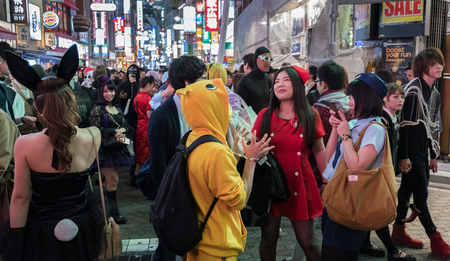 TOKYO, JAPAN - 29TH OCTOBER 2016. Shibuya district street scene during Halloween celebration. Halloween has become increasingly popular in Japan in the recent years. Editorial