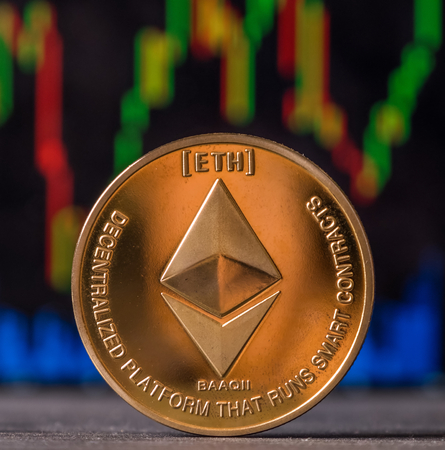 Ethereum coin against blurred graph background