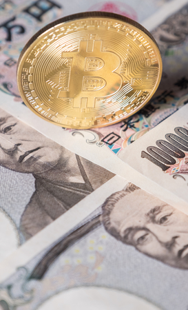 Bitcoin on Japanese Yen banknotes