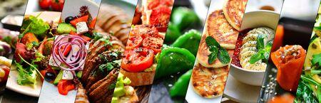 Collage of various food. Healthy and tasty vegetarian food, menu. Delicious