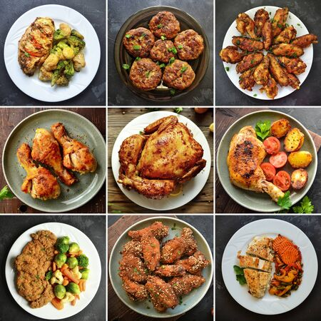 Collage of various food. Meat dishes. Meatballs, nuggets, chicken wings chicken Delicious