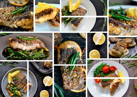 Food collage, food banner, cover for menu. Grilled fish fillet. Fried fish with lemon and rosemary. Rucolla salad. Banco de Imagens