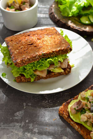 Dark bread sandwich with seeds. Sandwich with salad, avocado and fish in a white plate. Healthy lunch or brunch. Dark background. Breakfast at the cafe. Backlight.