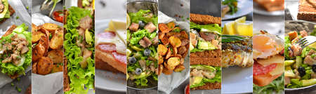 Collage of various food. Salad with fish, avocado and blueberries. Sandwich with lettuce and fish. Toast with egg. Rustic baked potatoes. Banco de Imagens