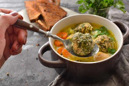 Meatball in a spoon