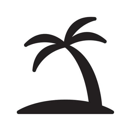 Tropical island icon. Travel trip symbol. Palm Tree sign isolated on white background. Flat design style. Vector illustration. Ilustracja