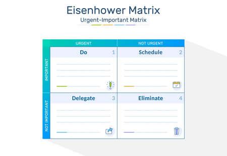 Eisenhower Matrix worksheet, urgent important matrix, Prioritize task, Task Management, Project Management, Process infographics Vektorové ilustrace