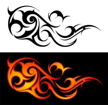 dessin tribal: Feu d�coratifs flammes isol�es sur blanc ou noir