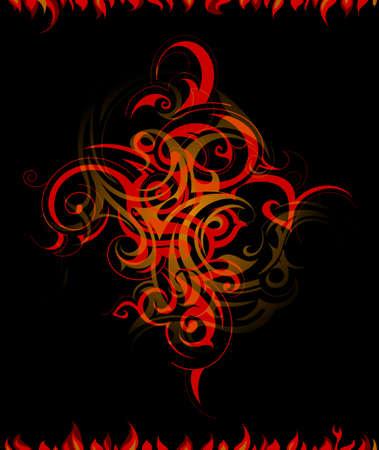 resplandor: Llamas de fuego creativo en el tel�n de fondo negro