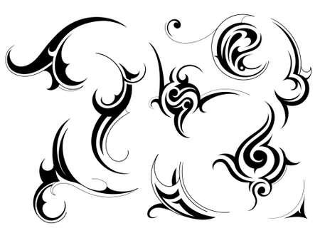 tribales: Conjunto de patrones de arte tribal aislado en blanco