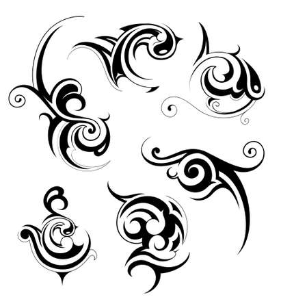 Set of artistic tribal patterns isolated on white Vector