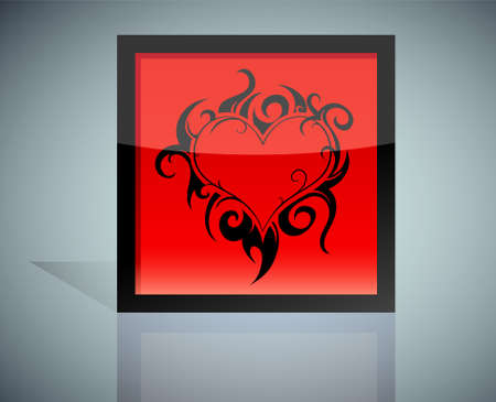 red love heart with flames: En forma de coraz�n en llamas en la caja de iconos