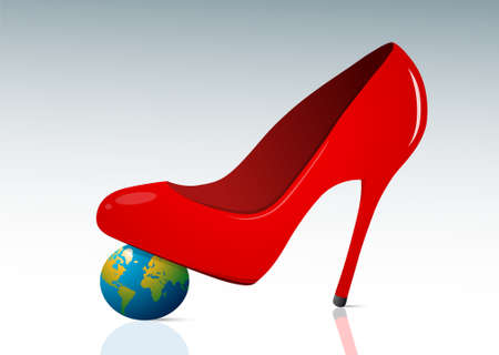 femine: Femine authority concept with red shoe and small globe