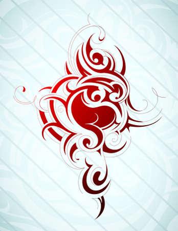 Tribal art tattoo on blue backdrop