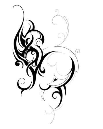 Decorative shape created in tribal art style Illustration