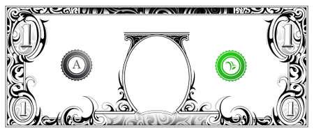 Billete de un dólar estadounidense con el ornamento artístico