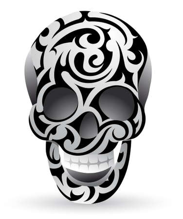 Creative skull shape ornamented in tribal art style Vector