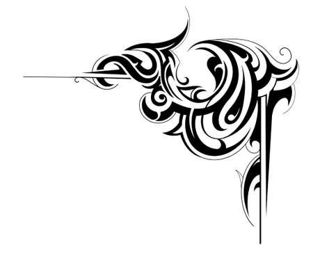 tribal: Angle de cadre d�coratif avec des �l�ments d'art tribal